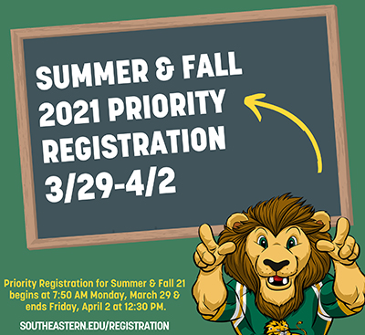 Priority Registration Summer/Fall 2021