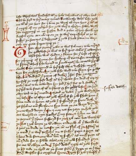 Manuscript image of Folio 15 recto from The Book of Margery Kempe