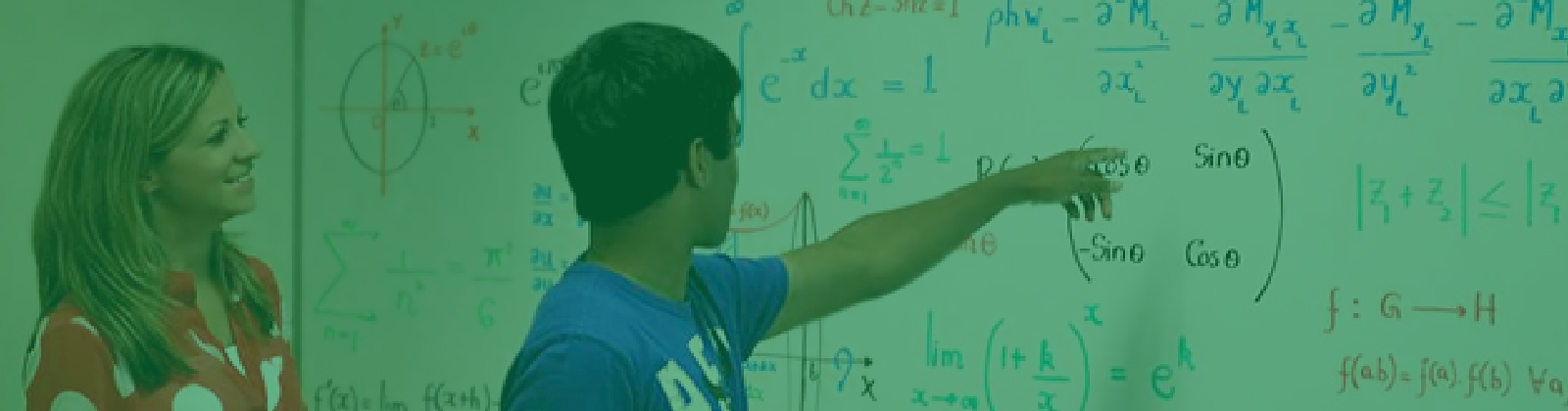 Student at White Board with Equations