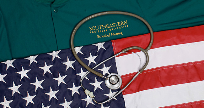 Stethoscope on Southeastern Nursing Uniform and American Flag