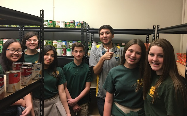 Students in the Food Pantry