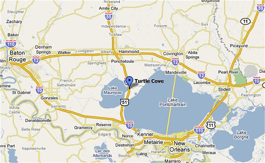map showing turtle cove west of lake pontchartrain