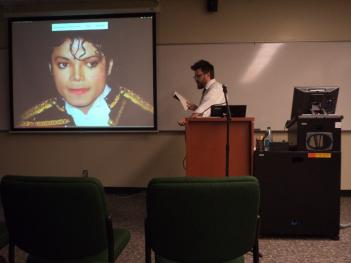 Dr Higgs gives a presentation on Michael Jackson's connection to Hayes's poetry