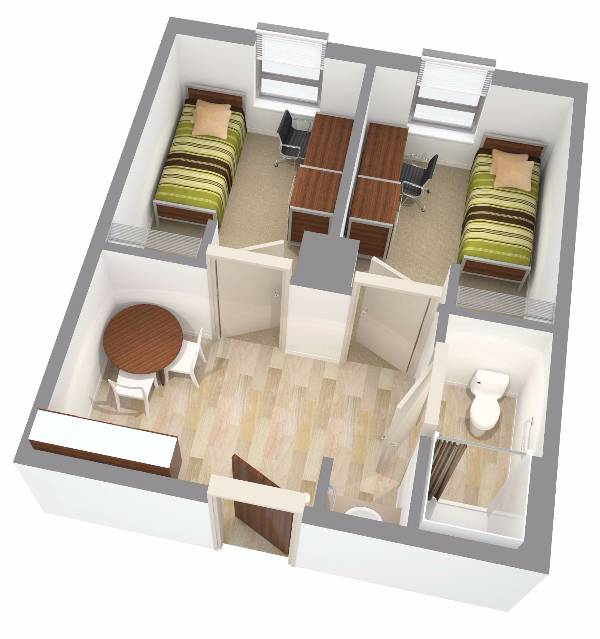 New Residence Halls - Private Room Layout