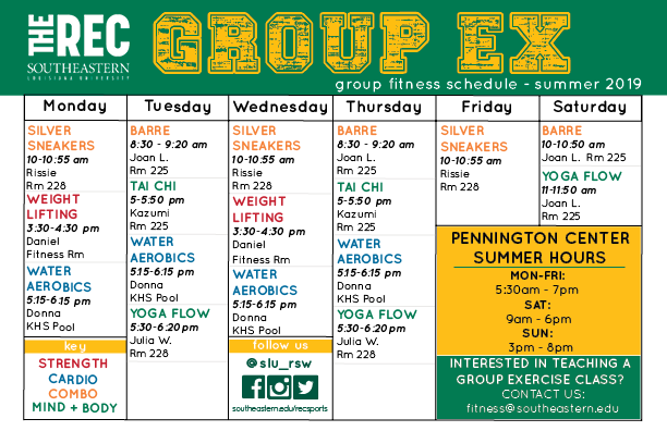 Summer Group Exercise Schedule
