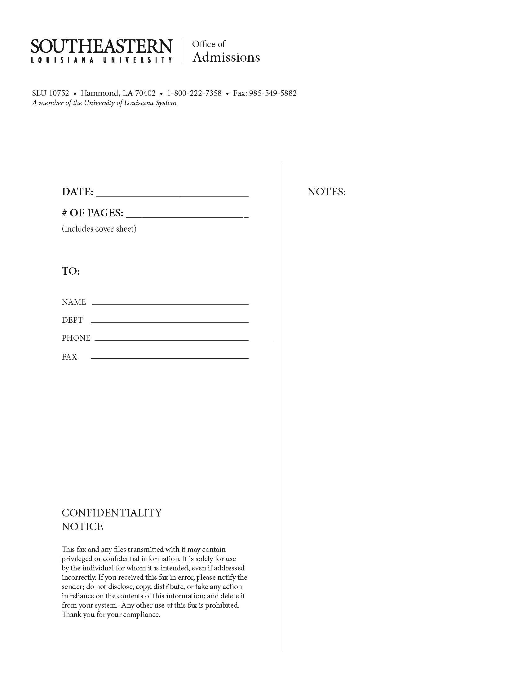 Fax Sheet Example