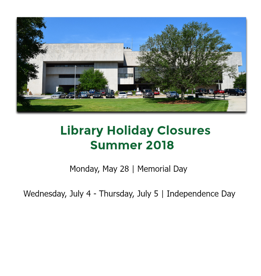 Summer 2018 Library Closures