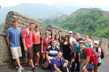 Study abroad students by the Great Wall