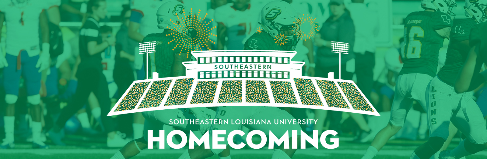 Homecoming 2019 Logo and Football Players