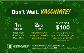 Southeastern participates in state's 'Shot for 100' program