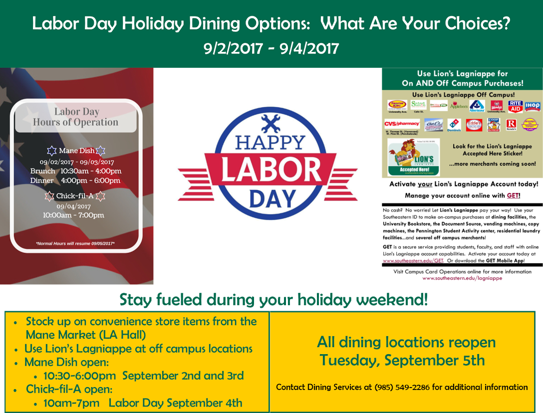 Labor Day Holiday Dining Options