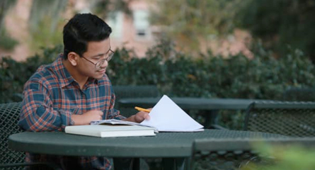 Student Studyhing Outside