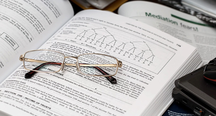 Glasses on Textbook