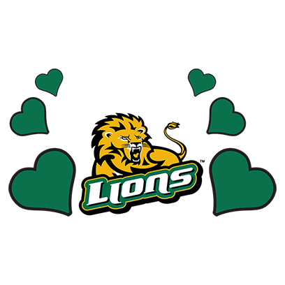 Athletics Lions Logo with Hearts