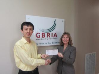 GRBIA makes donation to professor